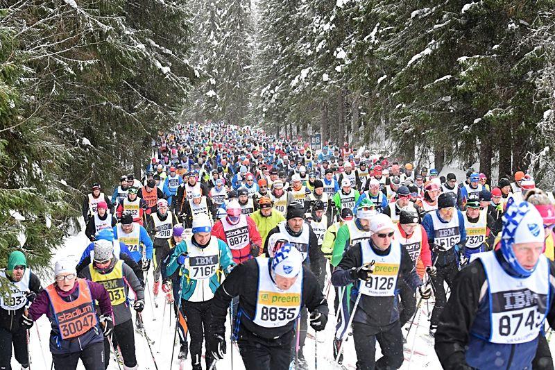 Under 2018 så var 99 847 anmälda till något av Vasaloppets arrangemang under vinter och sommar. FOTO: Vasaloppet.