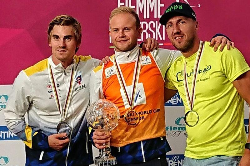 Robin Norum vann världscupen på rullskidor för fjärde året i rad. Två blev Victor Gustafsson och trea ryssen Dementiev. FOTO: Svenska skidförbundet.