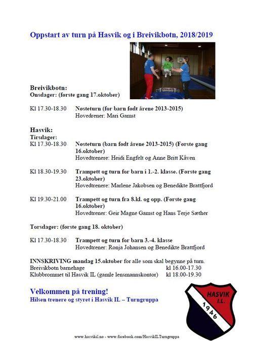 Oppstart av turn på Hasvik og i Breivikbotn 2018-2019