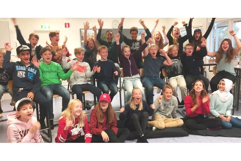Båstadskola vann Vasaloppets Skolutmaning 2019. Den vinnande klassen är klass 6 på Västra Karups skola i Båstad. FOTO: Lina Boman.