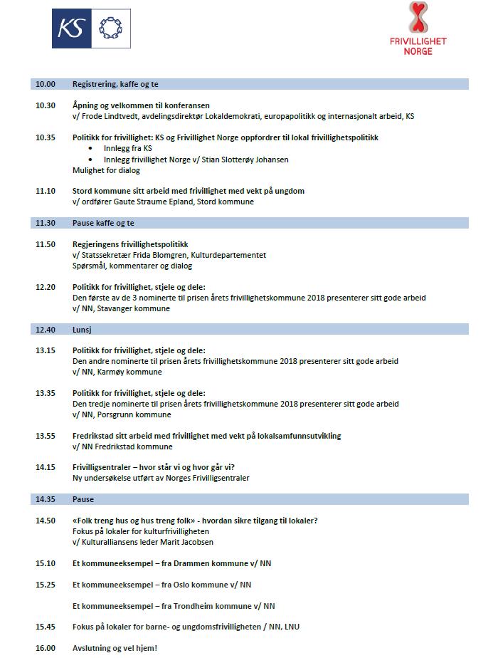 Programmet til frivillighetskonferansen 2018