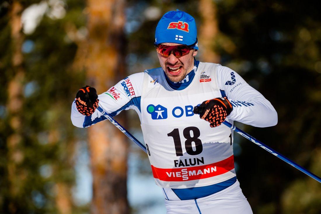 Ristomatti Hakola slog olympiamästaren på femmilen, Iivo Niskanen, med halvminuten vid finska cupen i Rovaniemi. FOTO: Simon Hastegård/Bildbyrån.