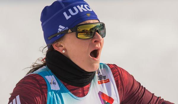 Natalia Nepryaeva vann 10 kilometer skejt i finska Olos på söndagen. FOTO: Fredrik Varfjell/Bildbyrån.
