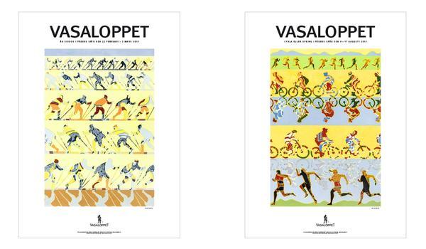 Konstnären Mia Malmlöf har skapat ett vintermotiv för Vasaloppets vintervecka 2019 och ett sommarmotiv 2019 för Vasaloppets sommarvecka. FOTO: Vasaloppet.