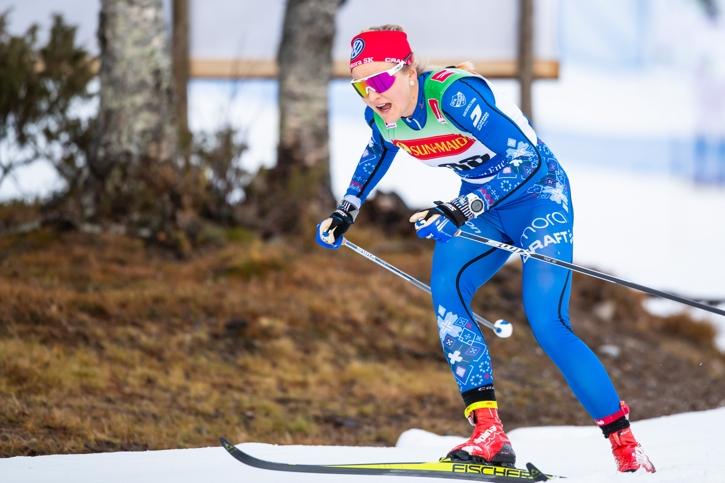Stina Nilsson åkte in som trea i sitt första lopp för säsongen. FOTO: Johan Axelsson/Bildbyrån.