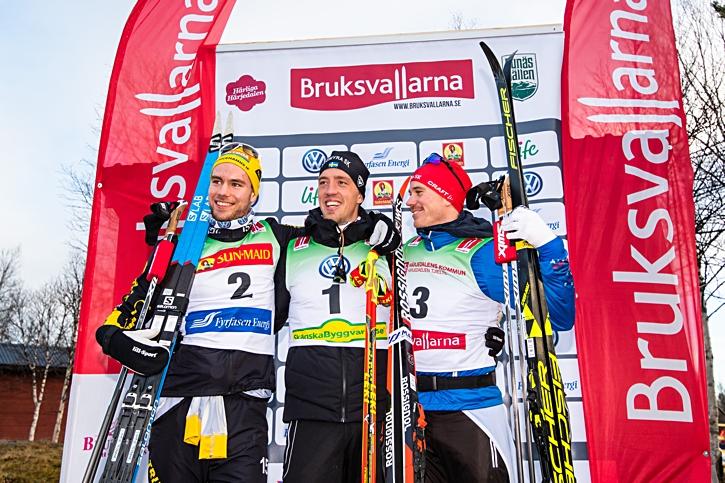 Glatt på pallen. Fr.v. Viktor Thorn, Calle Halfvarsson och Gustav Eriksson. FOTO: Johan Axelsson/Bildbyrån.