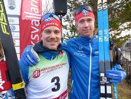Bröderna Gustav och Jonas Eriksson åkte starkt på 15 kilometer i Bruksvallarna. Gustav blev trea och Jonas sexa. FOTO: Johan Trygg/Längd.se.