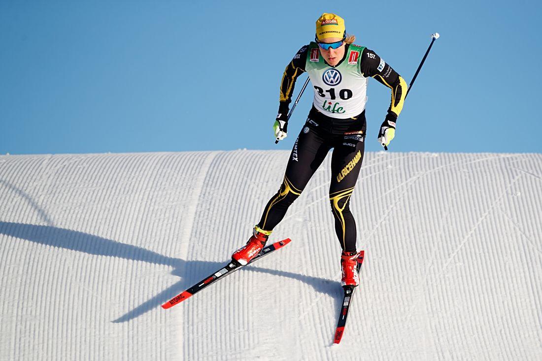 Hanna Falk var snabbast i sprintprologen i Bruksvallarna på söndagsmorgonen. FOTO: Johan Axelsson/Bildbyrån.