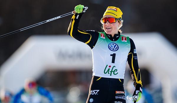 Hanna Falk tog en övertygande seger på sprintfinalen i Bruksvallarna. FOTO: Johan Axelsson/Bildbyrån.