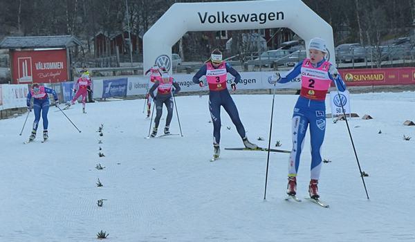 Linn Svahn vann klart vid masstarten i Hudiksvall. Bilden dock från säsongspremiären i Bruksvallarna. FOTO: Johan Trygg/Längd.se.