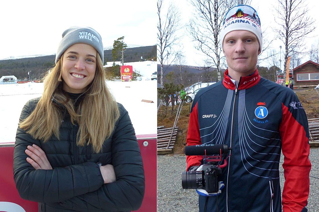Landslagets Anna Dyvik, IFK Mora SK och Jens Burman, Åsarna IK, vloggar om livet som skidåkare. FOTO: Johan Trygg/Längd.se.