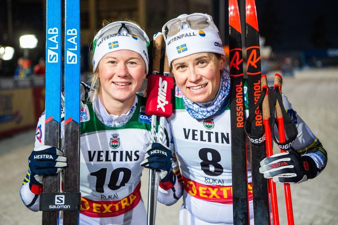 Maja Dahlqvist och Ida Ingemarsdotter fick en smakstart på säsongen som tvåa och trea i Ruka. FOTO: Carl Sandin/Bildbyrån.