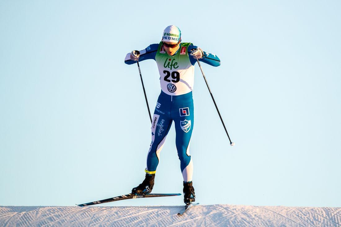 Marin Bergström vann sprinten vid Volkswagen cup i Idre. Bilden dock från säsongspremiären i Bruksvallarna. FOTO: Johan Axelsson/Bildbyrån.