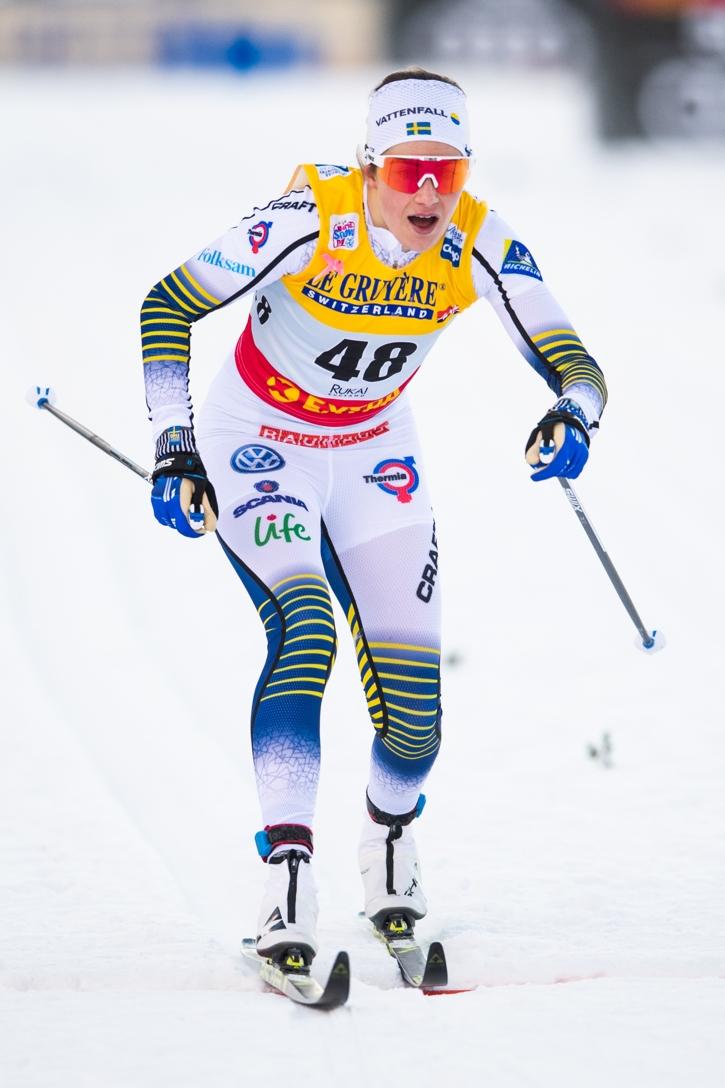 Ebba Andersson grejade sin första pallplats i världscupen. FOTO: Carl Sandin/Bildbyrån.