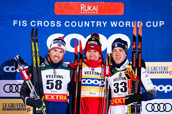 Topptrion Emil Iversen, Alexander Bolsjunov och Calle Halfvarsson. FOTO: Carl Sandin/Bildbyrån.
