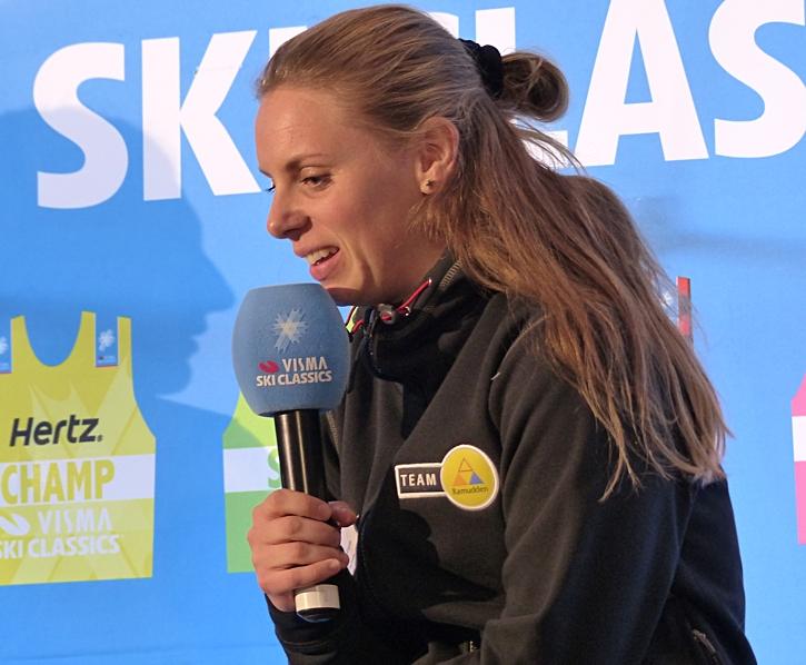 Lina under Visma Ski Classics pressträff i Stockholm förra veckan. FOTO: Johan Trygg/Längd.se.