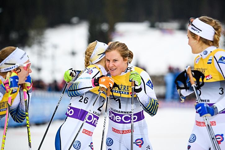 Den svenska finalkvartetten Evelina Settlin, Jonna Sundling, Hanna Falk och Stina Nilsson. FOTO: Jon Olav Nesvold/Bildbyrån.