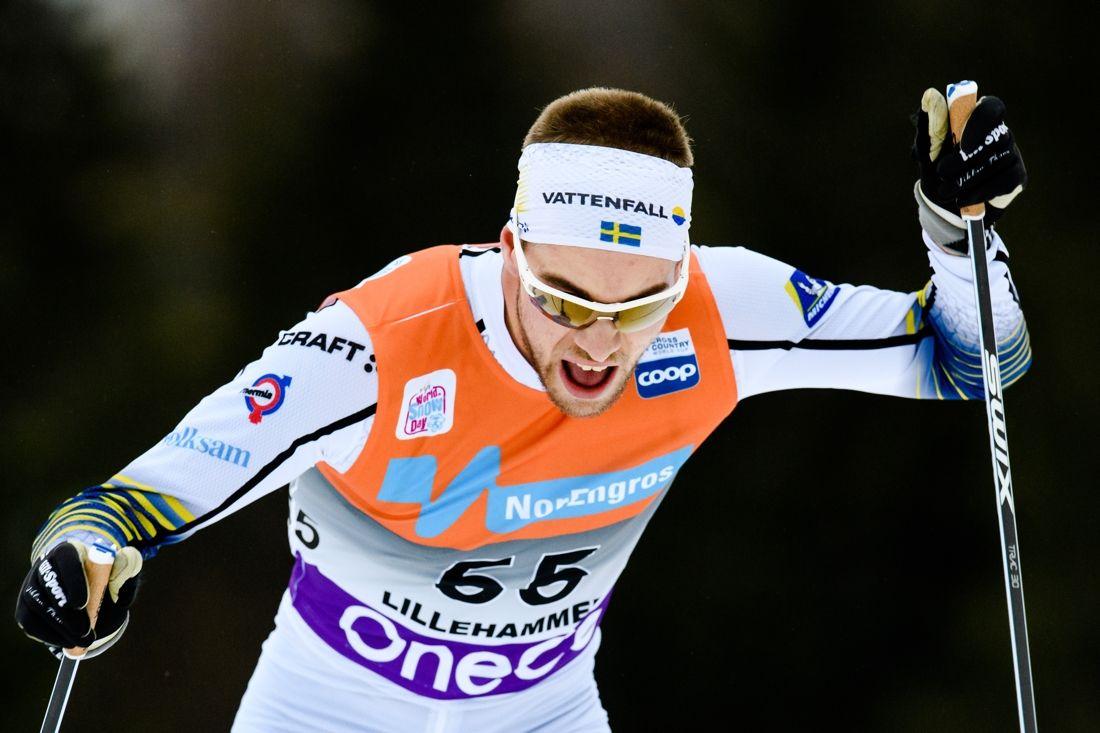 Viktor Thorn på väg mot tolfte plats på 15 kilometer skejt i Lillehammer. Han bästa världscuplopp hittills. FOTO: Jon Olav Nesvold/Bildbyrån.