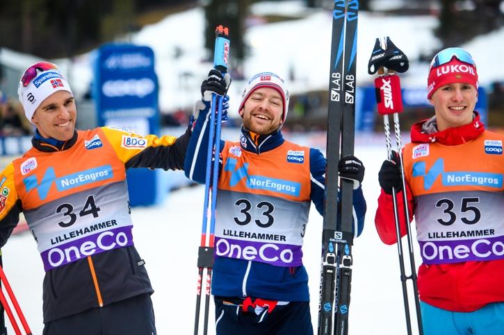 Topptrion Didrik Tönseth, Sjur Röthe och Denis Spitsov. FOTO: Jon Olav Nesvold/Bildbyrån.