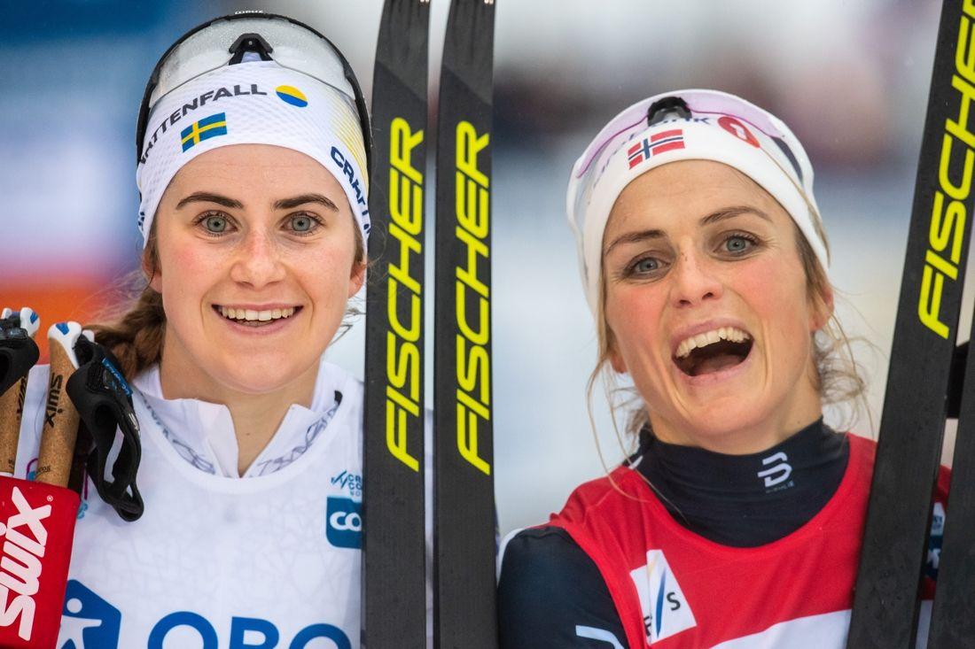 Ebba Andersson och Therese Johaug etta och tvåa för andra dagen i rad i Lillehammer. FOTO: Jon Olav Nesvold/Bildbyrån.