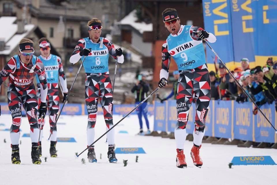 """Öystein """"Pölsa"""" Pettersen spurtade in som segrare för sina tre lagkamrater i Team BN Bank på Ski Classics-pologen i Livigno: FOTO Magnus Östh."""