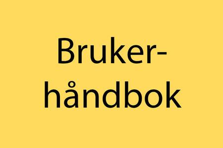 """Ingressbilde til artikkel om brukerhåndbok. Gult rektangel med ordet """"Brukerhåndbok""""."""