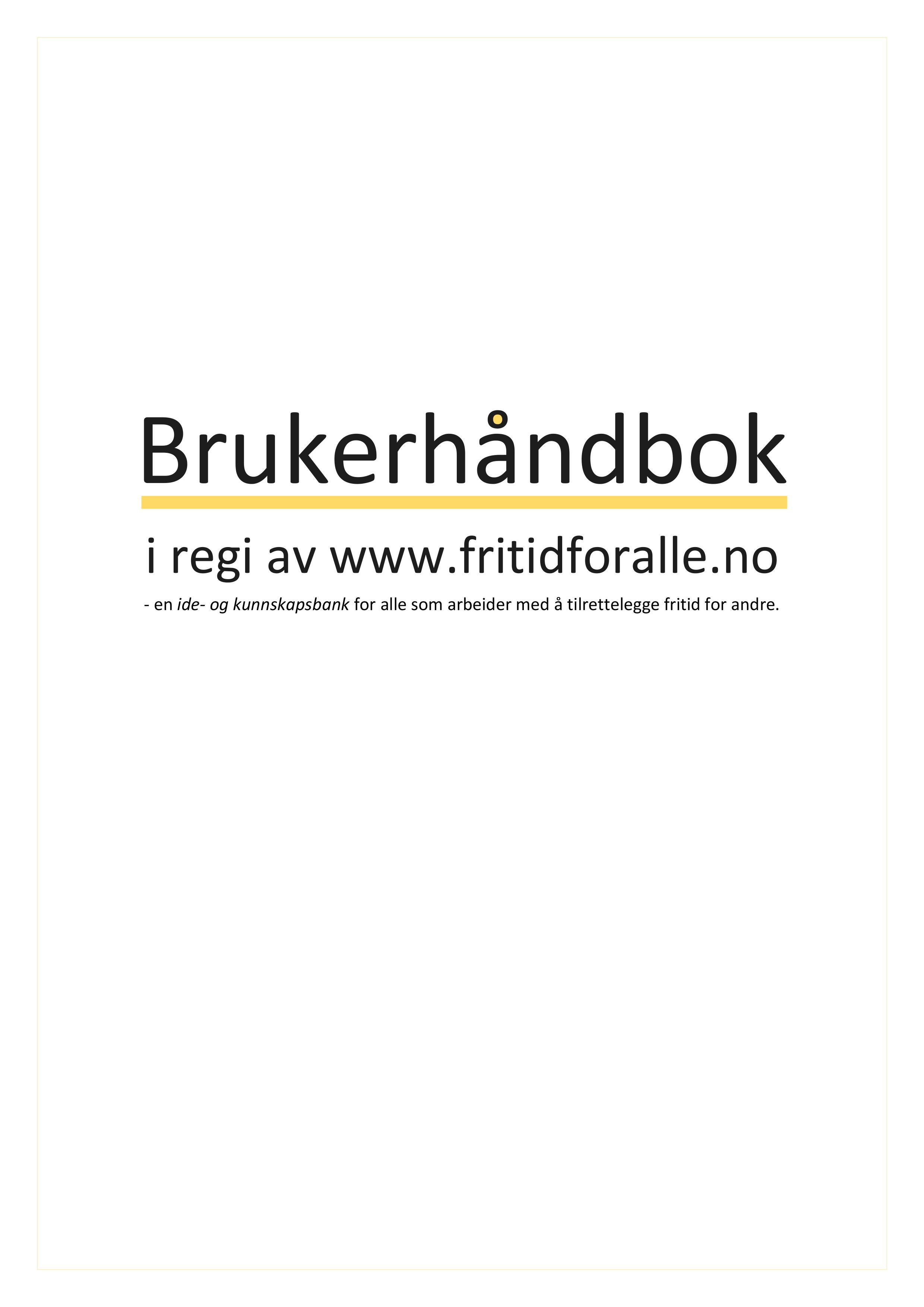 Brukerhåndbok for støttekontakttjenesten