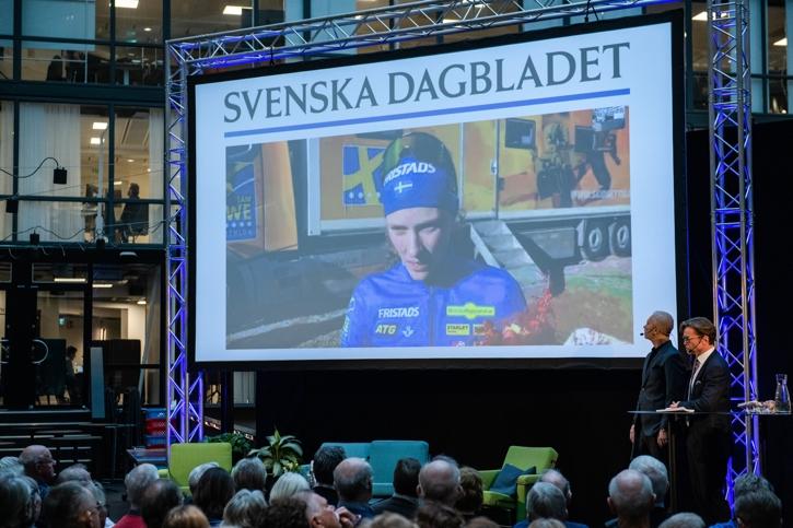 Hanna på länk från Slovenien vid tillkännagivandet av Bragdguldet i Stockholm på tisdagen. FOTO: Simon Hastegård/Bildbyrån.