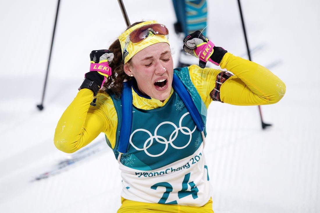 Hanna Öberg direkt efter målgång och OS-guld på 15 kilometer i Pyeongchang. Idag fick Hanna Bragdguldet för sin prestation. FOTO: Jon Olav Nesvold/Bildbyrån.