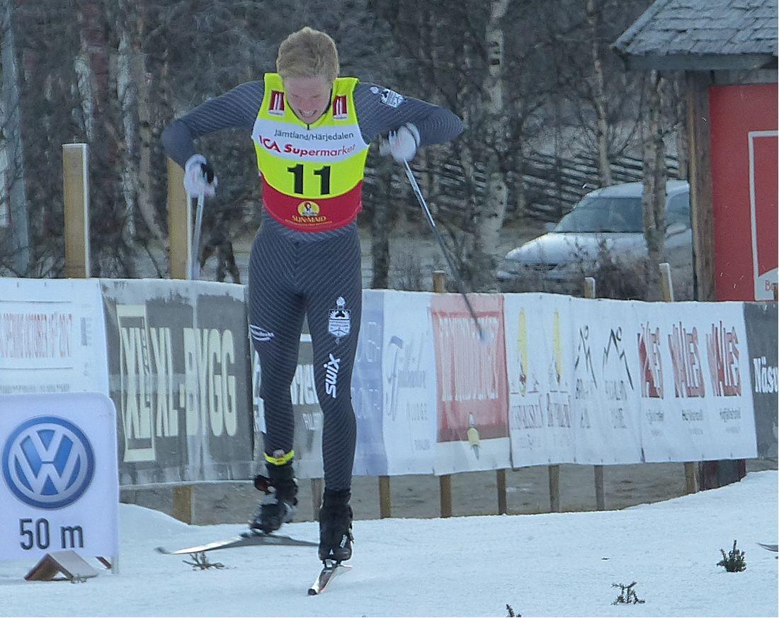 Offerdals SK:s nyförvärv Axel Aflodal vann sprinten vid Scandic cup i Boden. Bilden från säsongspremiären i Bruksvallarna. FOTO: Längd.se.