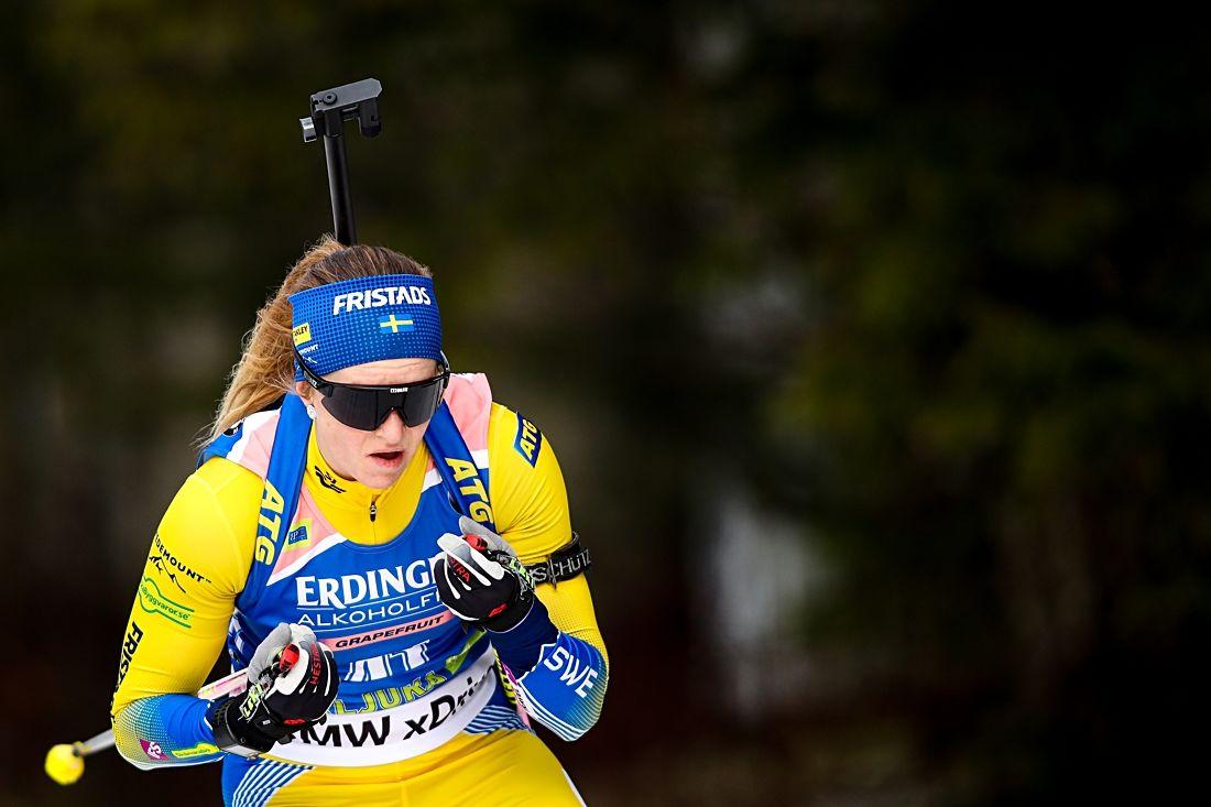 Mona Brorson bästa svenska som 19:e på sprinten i Pokljuka. FOTO: GEPA pictures/ Matic Klansek.