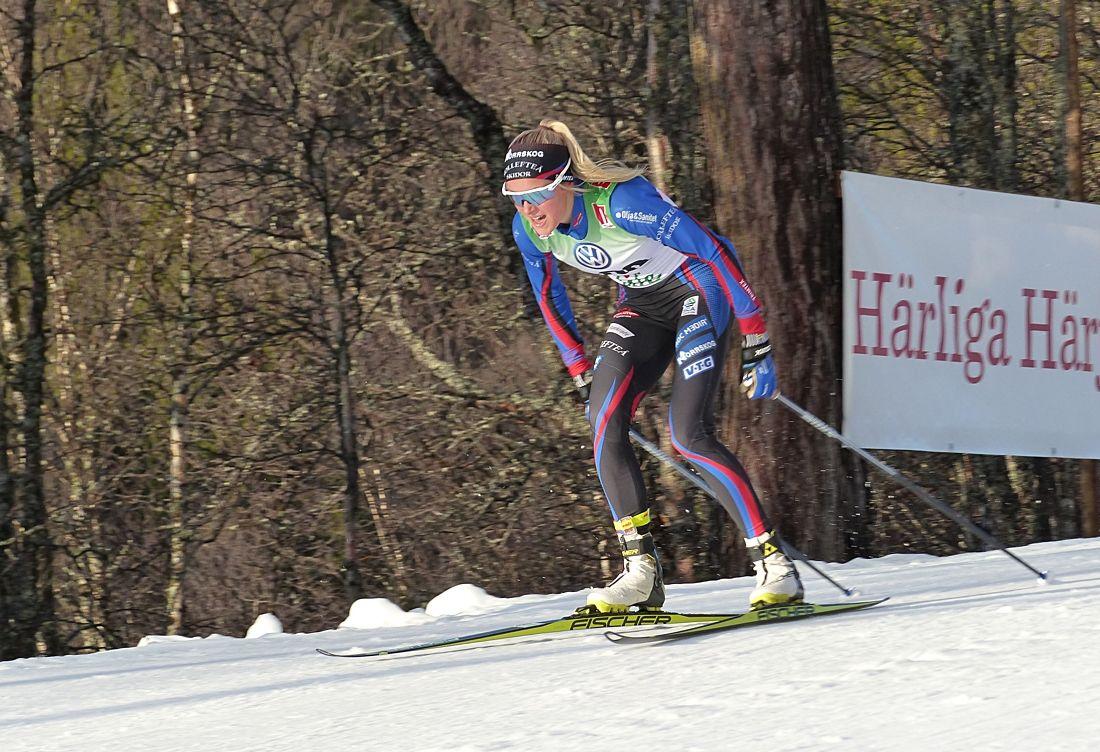 Frida Karlsson vann 5 kilometer skejt vid Scandic cup i Boden 20 sekunder före Linn Svahn, IFK Umeå. Bilden dock från säsongspremiären i Bruksvallarna. FOTO: Johan Trygg/Längd.se.