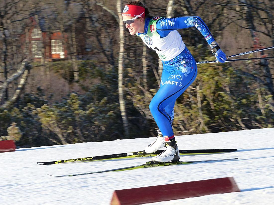 Anna Dyvik var ensam svensk att ta sig upp på pallen vid Skandinaviska cupen sprint i Östersund. FOTO: Johan Trygg/Längd.se.