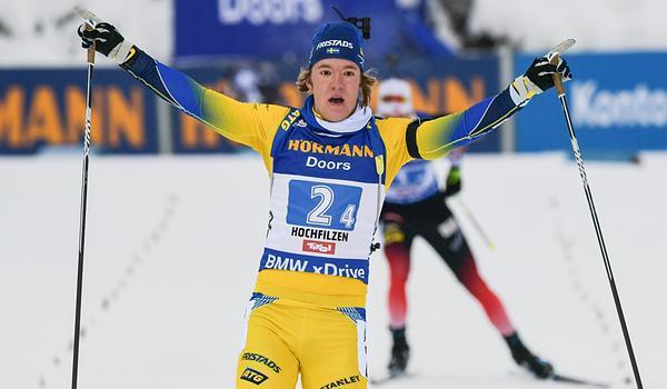 Sebastian Samuelsson förde Sverige till seger vid världscupstafetten i Hochfilzen. FOTO: GEPA pictures/ Hans Osterauer.