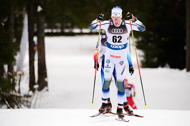 Calle Halfvarsson på väg mot åttonde plats i Toblach. FOTO: Fredrik Varfjell/Bildbyrån.