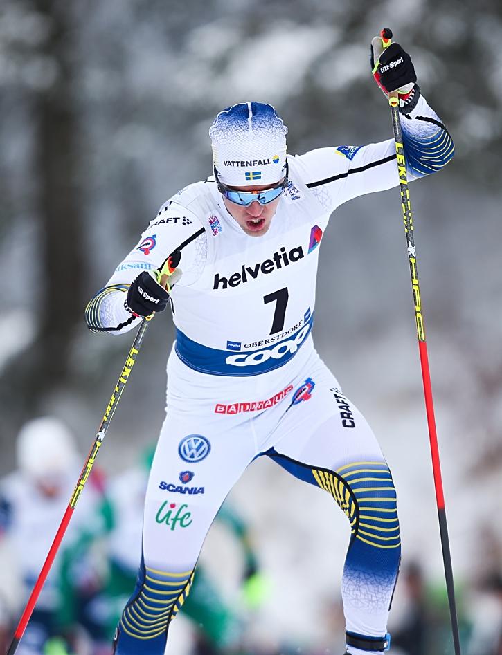 Calle Halfvarsson åkte som sjua i jaktstarten. FOTO: GEPA pictures/Phillip Brem.