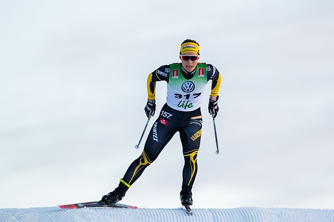 Johanna Hagström vann sprinten vid Skandinaviska cupen i Vuokatti, Finland. Här är Johanna vid svenska premiären i Bruksvallarna i november. FOTO: Johan Axelsson/Bildbyrån.