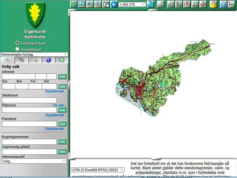 o kart på nett Kommuneplankartet på nett   Eigersund kommune