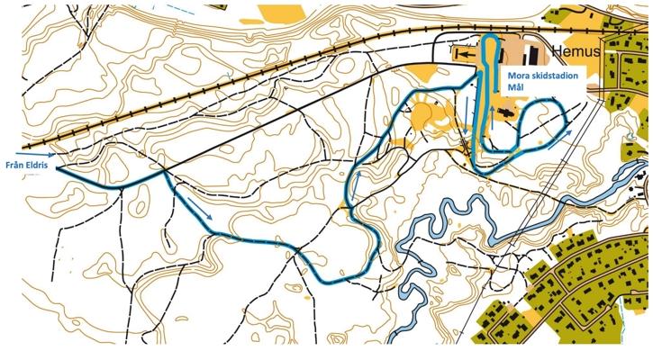 Banskiss över de två sista kilometerna på Moraloppet.