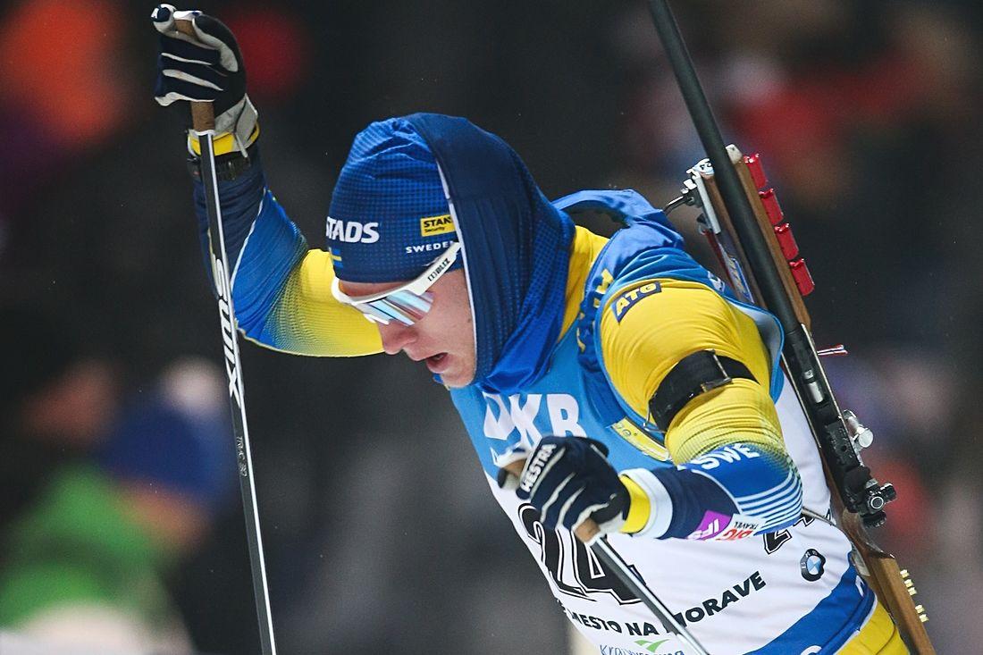 Sebastian Samuelsson tog sin första pallplats i världscupen när han åkte in på tredje plats på sprinten i Oberhof, Tyskland. FOTO: GEPA pictures/Philipp Brem.