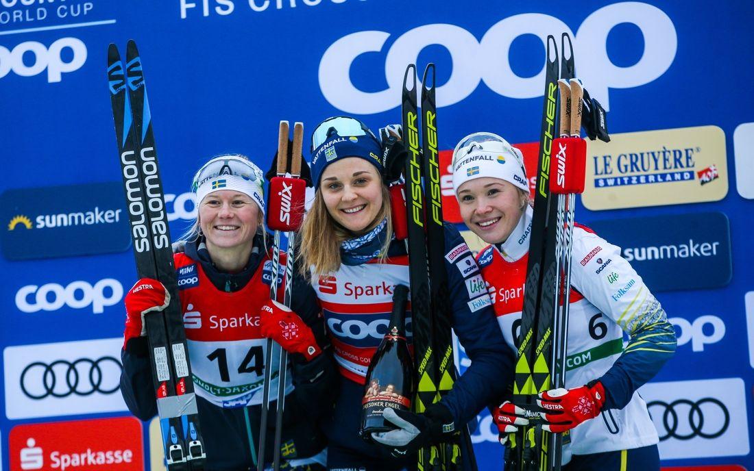 Suveräna svenska sprinttjejer: Maja Dahlqvist, Stina Nilsson och Jonna Sundling grejade en svensk trippel i Dresden. FOTO: GEPA pictures/Philipp Brem.