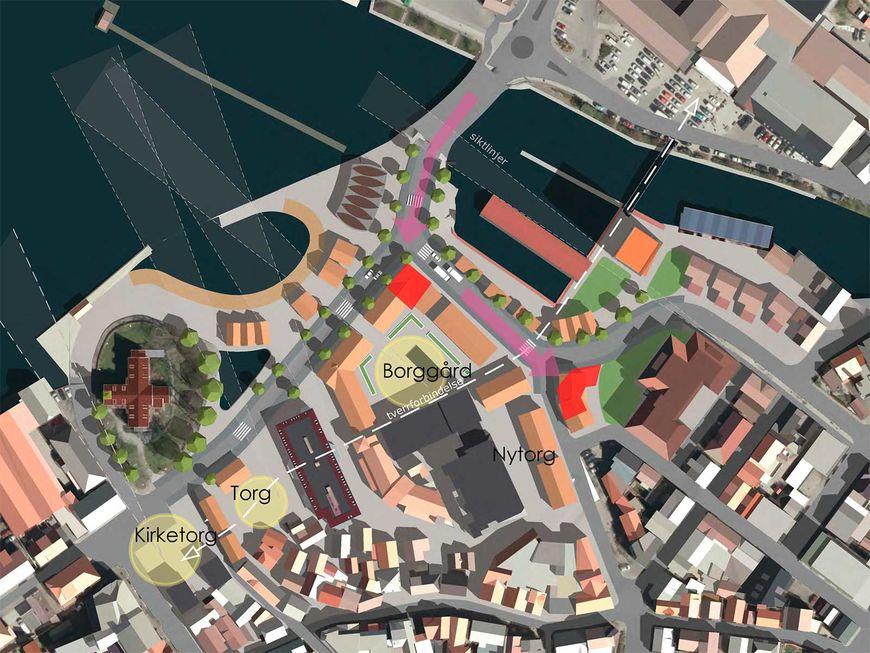 Mulighetstudie av Egersund sentrum med kart