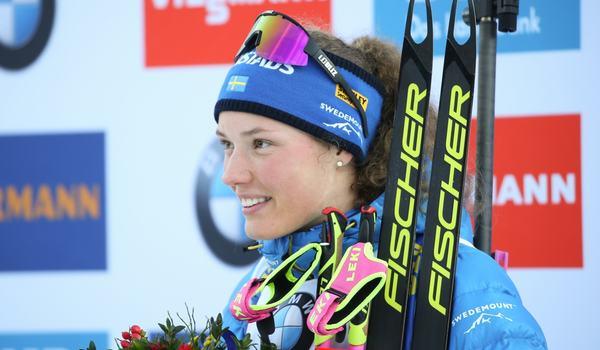 Hanna Öberg tog säsongens tredje pallplats på sprinten i Ruhpolding, Tyskland. FOTO: Mathias Mandl/GEPA pictures/Bildbyrån.