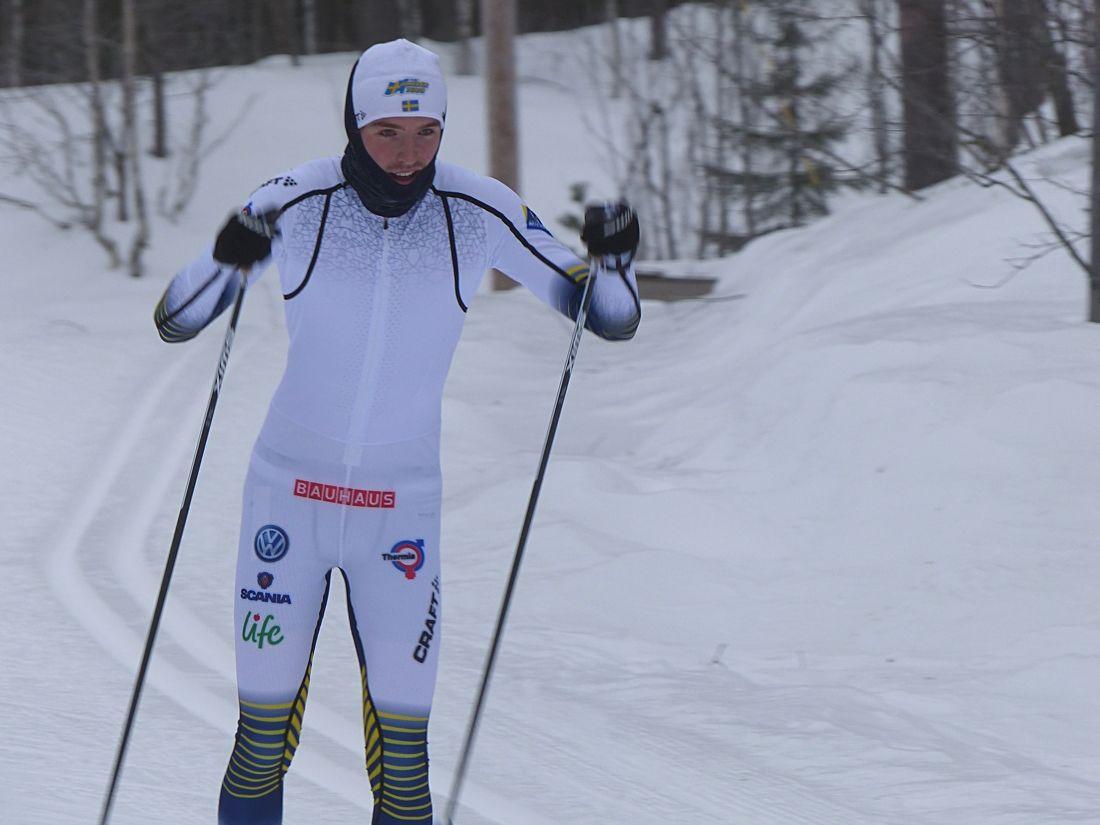 William Poromaa blev bäste svensk på 10 kilometer fristil vid JVM i Lahtis, Finland. Här är William vid förra veckans uppladdningsläger i Grönklitt. FOTO: Johan Trygg/Längd.se.