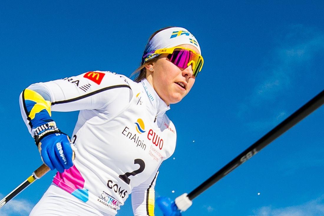 Johanna Hagström blev sexa på masstartsloppet vid U23-VM i Lahtis. En liten revansch efter att hon ramlade i medaljläge på sprinten för några dagar sedan. FOTO: Bildbyrån.