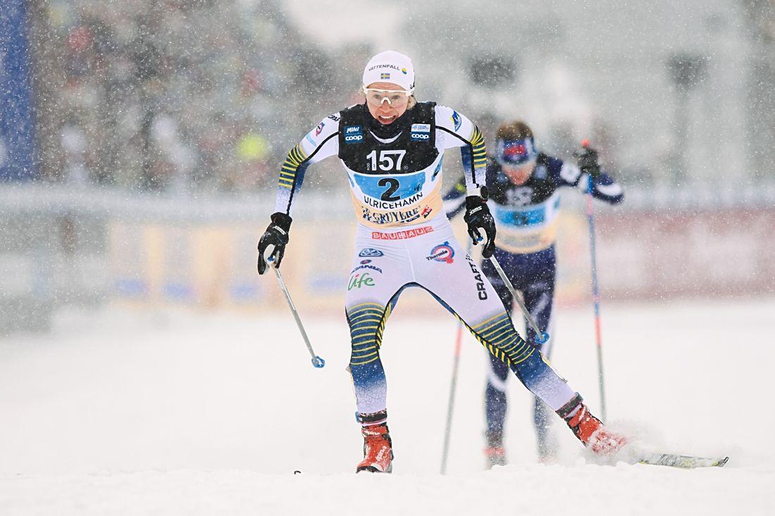 Jonna Sundling spurtade säkert hem andraplatsen för Finland på världscupstafetten i Ulricehamn. FOTO: Mathias Bergeld/Bildbyrån.