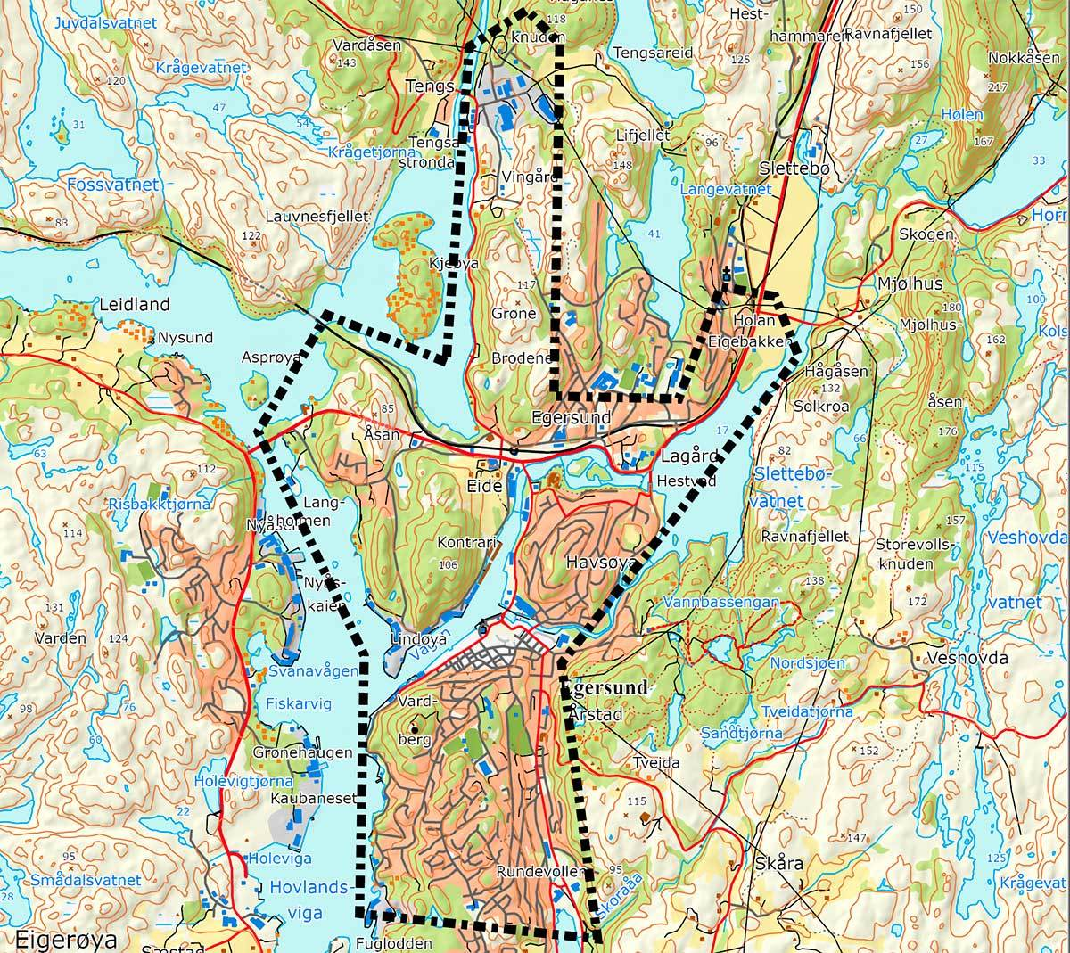 Kart over område for ny brannstasjon