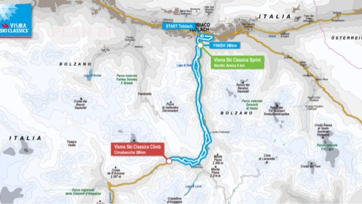 På grund av extremt väder och risk för laviner har Toblach-Cortina ändrat banan för lördagens Ski Classics-lopp.