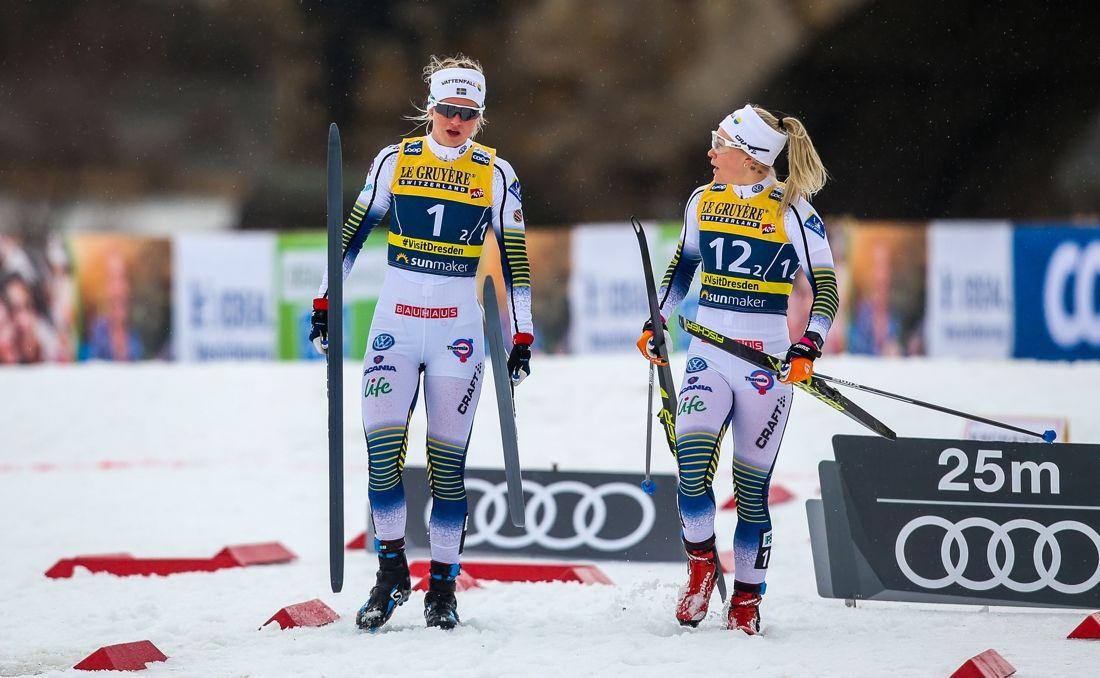 Maja Dahlqvist och Jonna Sundling är heta segerkandidater när SM-sprinten avgörs på Södra Berget i Sundsvall på lördagen. FOTO: GEPA pictures/Philipp Brem/Bildbyrån.