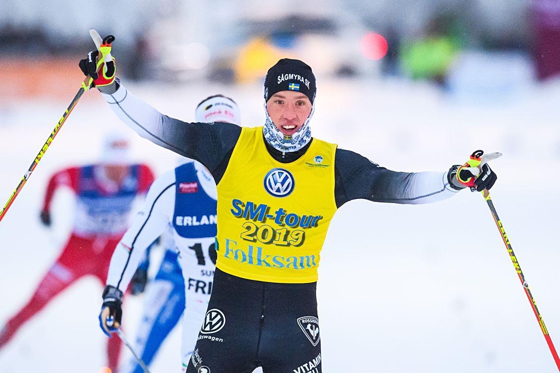 Calle Halfvarsson spurtade till andra raka guldet vid SM-tävlingarna i Sundsvall. FOTO: Simon Hastegård/Bildbyrån.